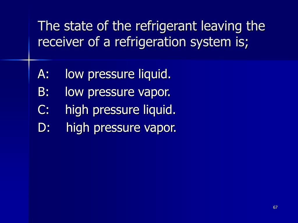 The state of the refrigerant leaving the receiver of a refrigeration system is;