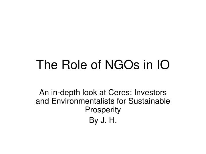 the role of ngos in io n.