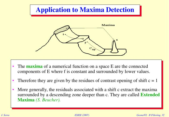 Application to Maxima Detection