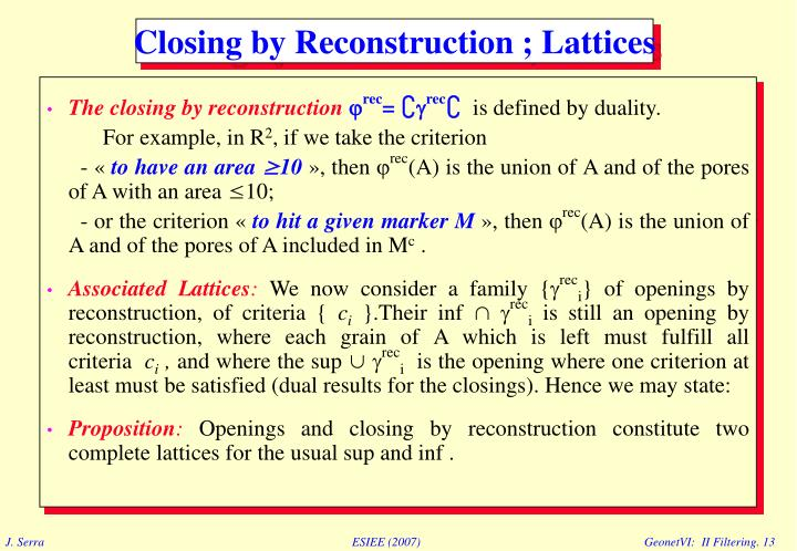 The closing by reconstruction
