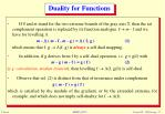 duality for functions
