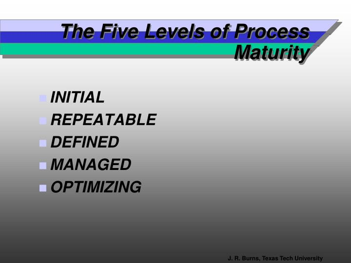 The Five Levels of Process Maturity