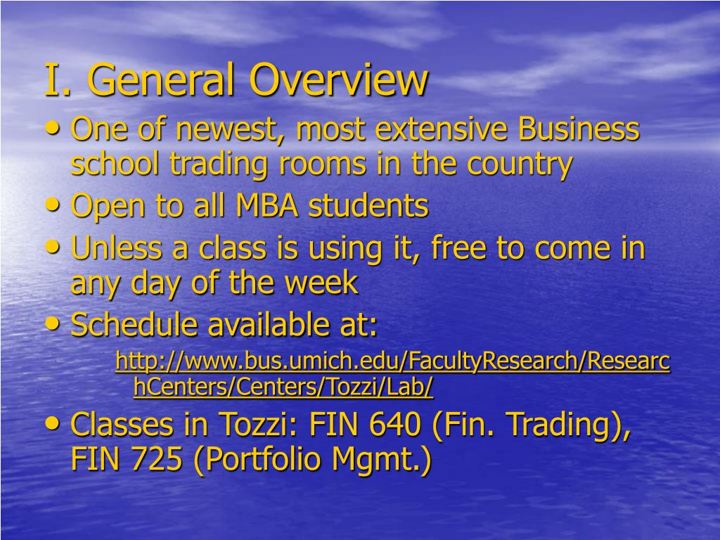 I. General Overview