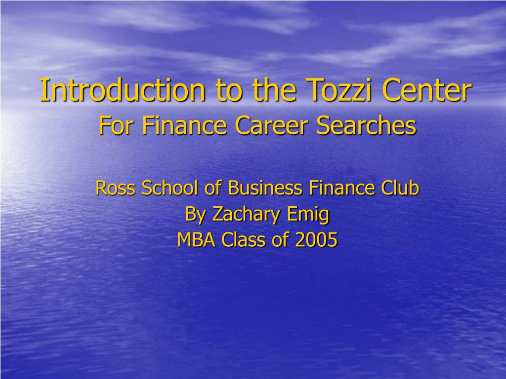 Introduction to the Tozzi Center