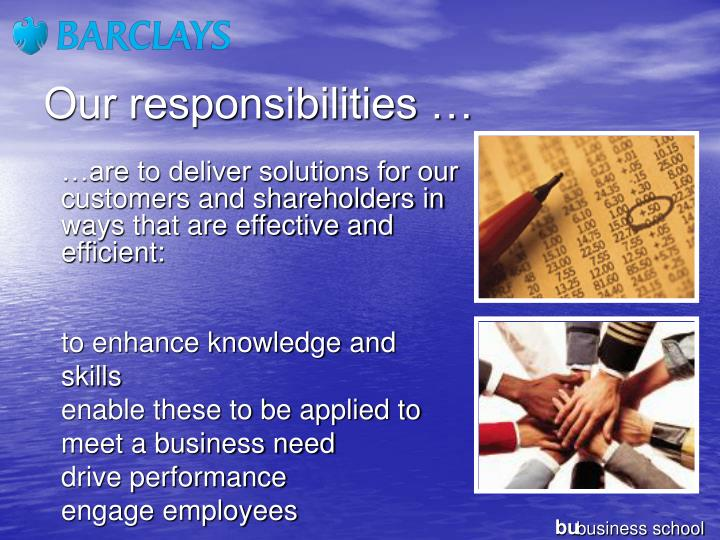 Our responsibilities