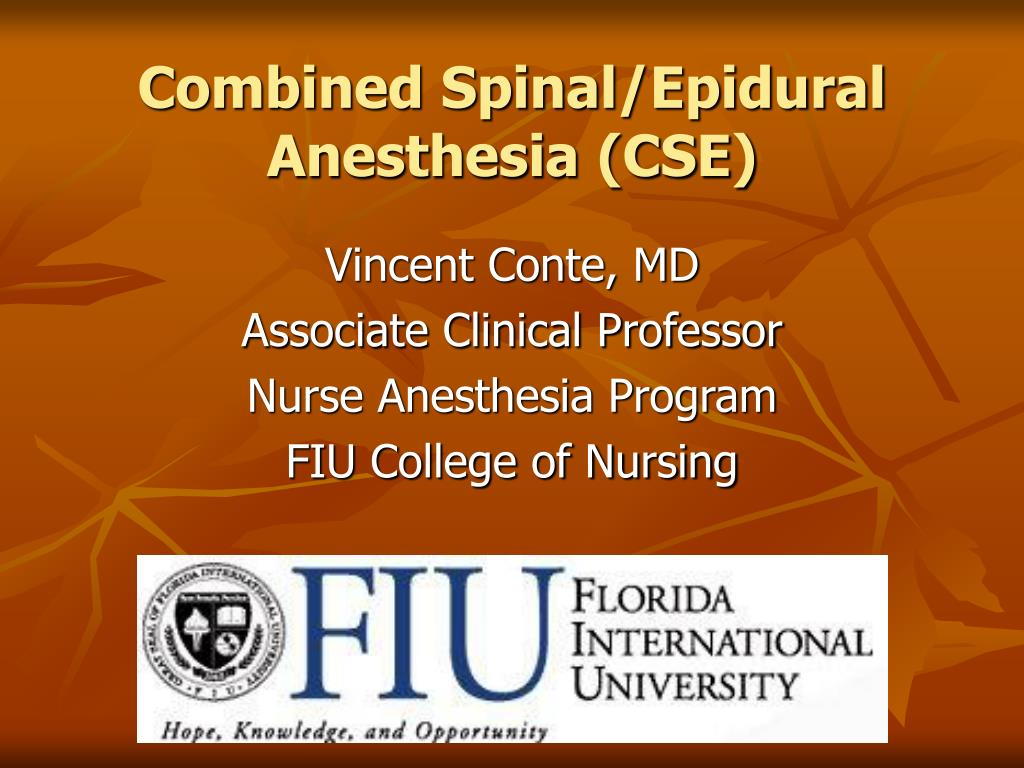 combined spinal epidural anesthesia cse l.