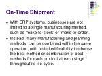 on time shipment