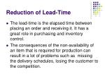 reduction of lead time