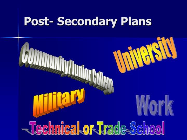 Post secondary plans
