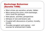 backstage behaviour surette 1998