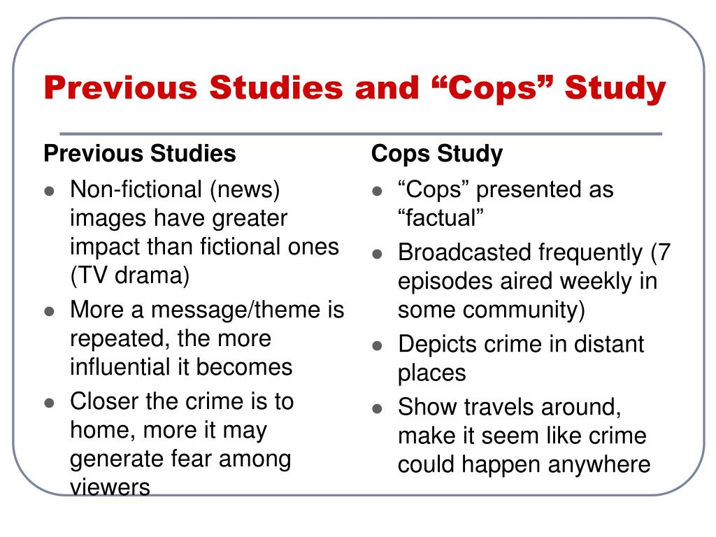 "Previous Studies and ""Cops"" Study"