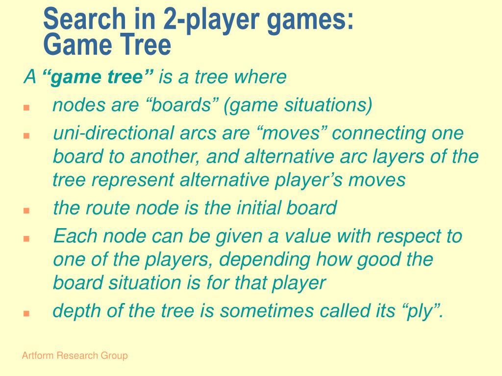 Search in 2-player games: