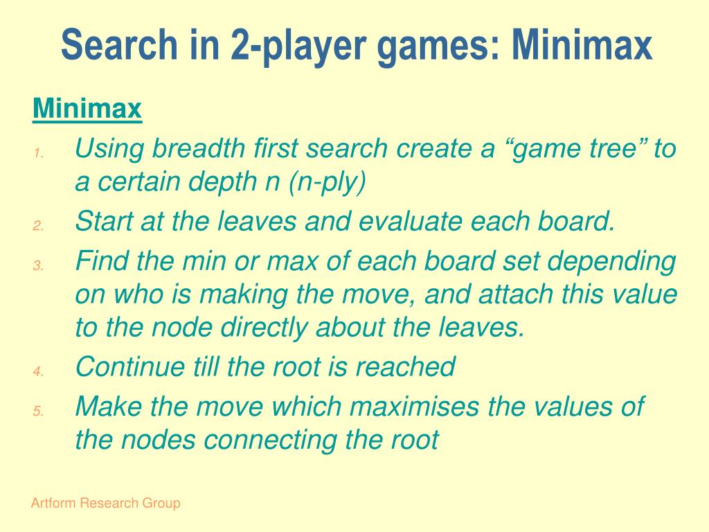 Search in 2-player games: Minimax