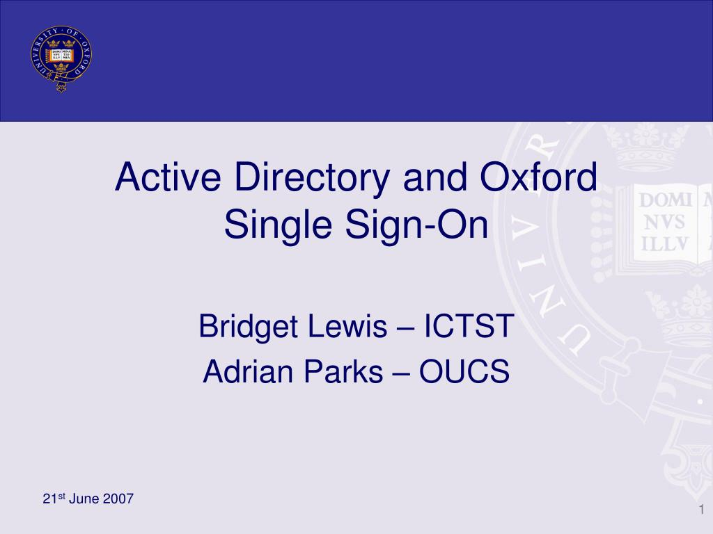 active directory and oxford single sign on l.