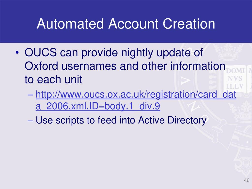 Automated Account Creation