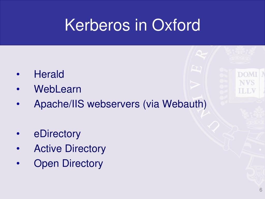 Kerberos in Oxford