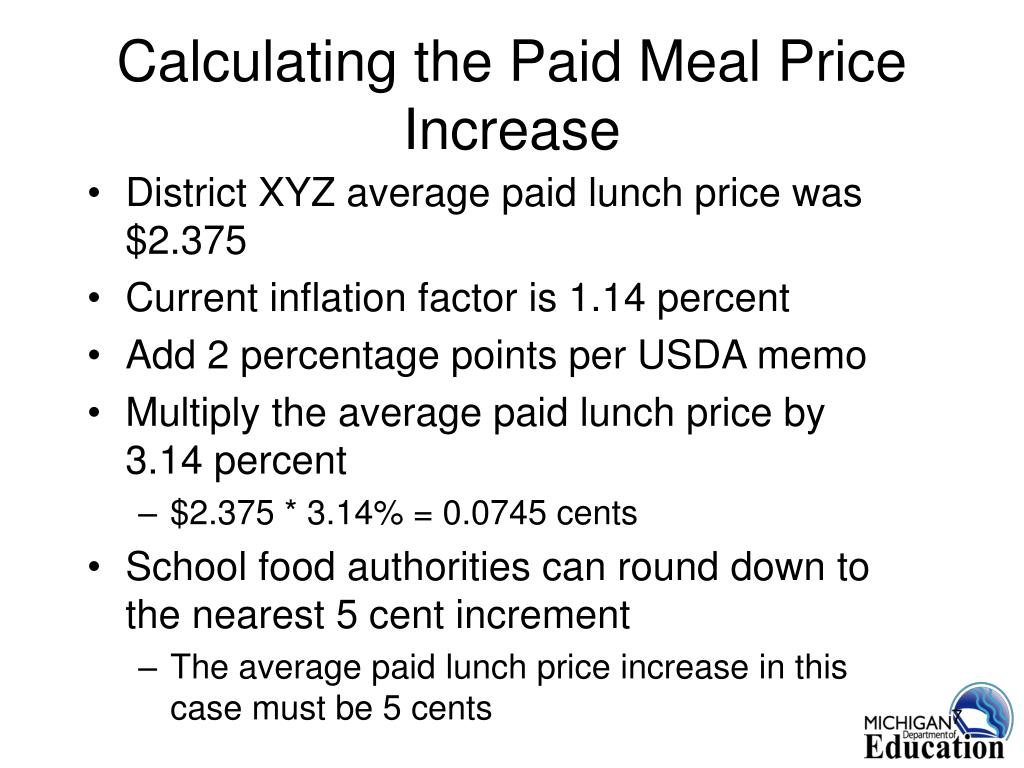 Calculating the Paid Meal Price Increase