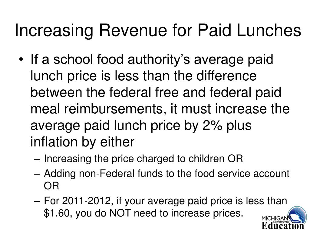 Increasing Revenue for Paid Lunches