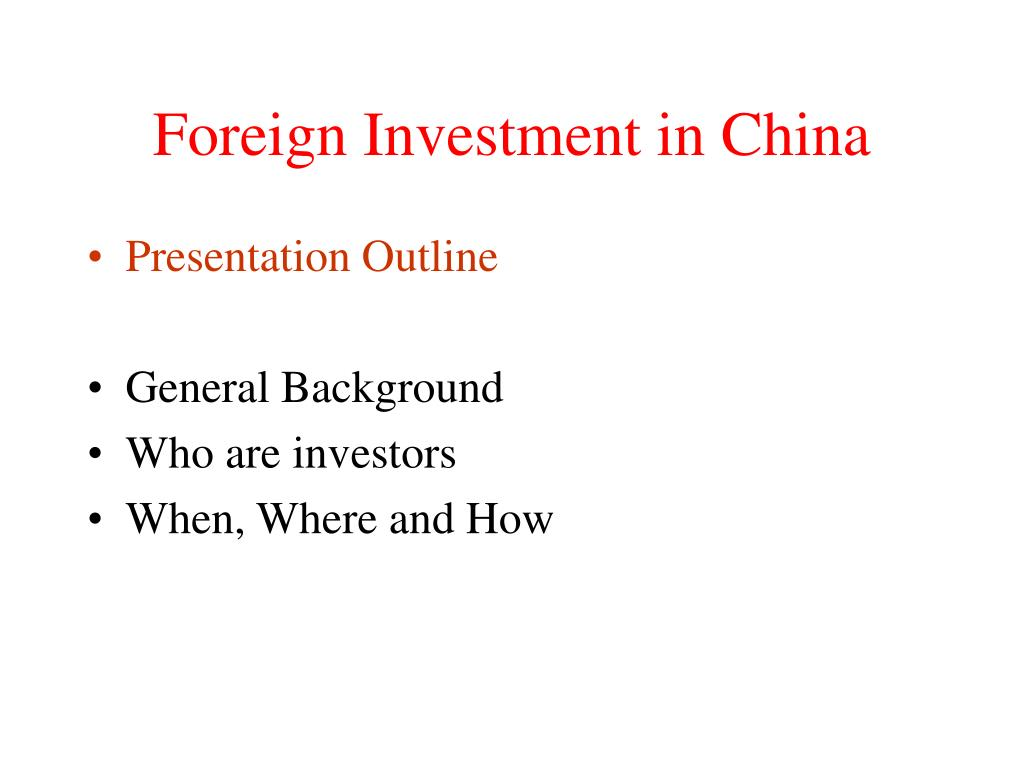 foreign investment in china l.
