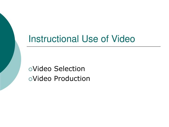 instructional use of video n.