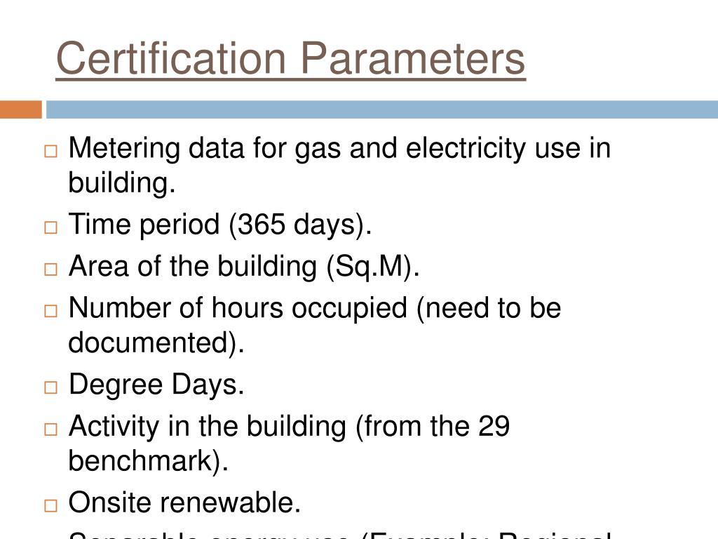 Certification Parameters