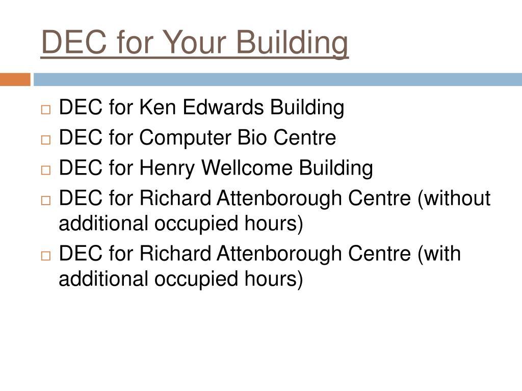 DEC for Your Building