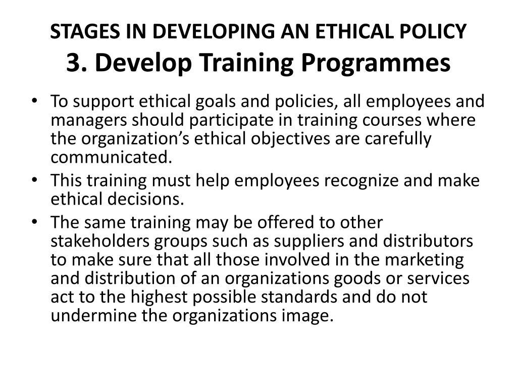 develop an ethics program