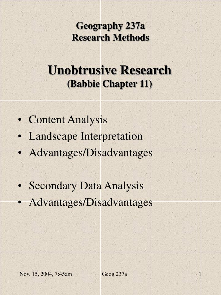 Unobtrusive research babbie chapter 11