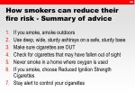 how smokers can reduce their fire risk summary of advice