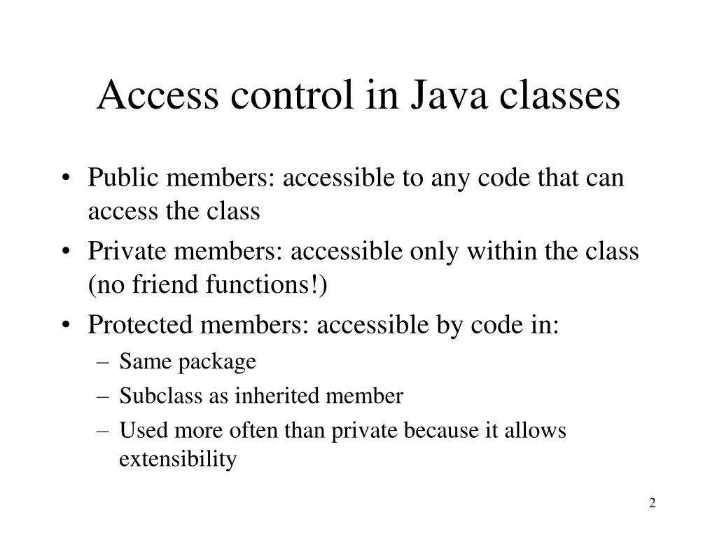 Access control in Java classes