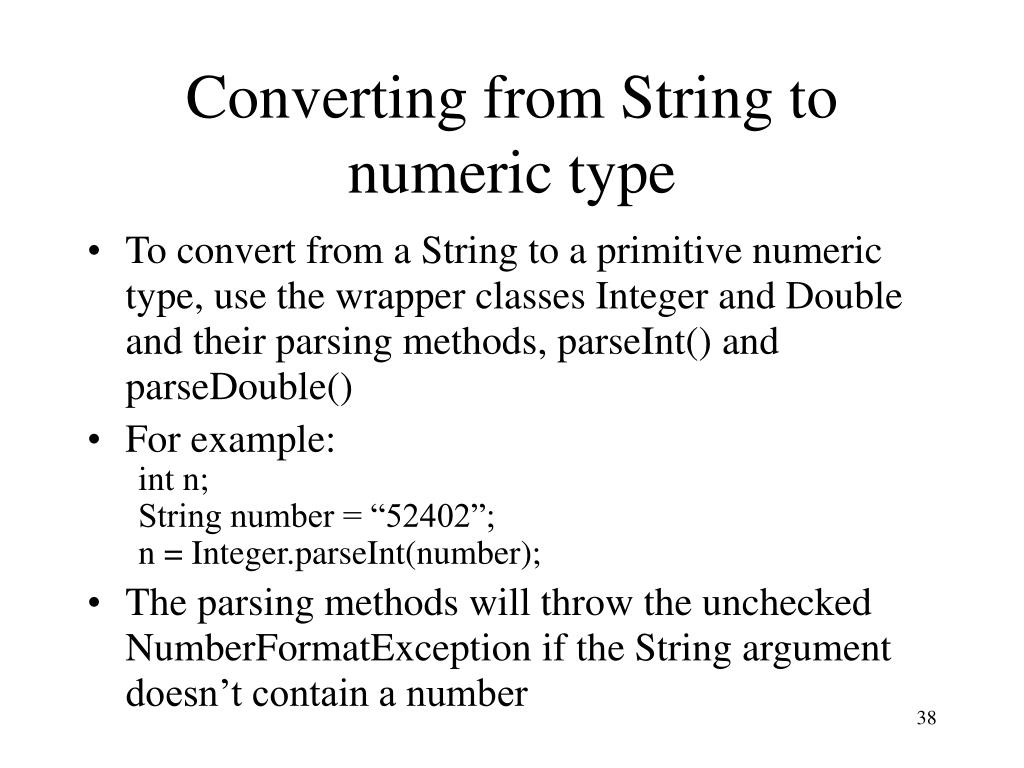 Converting from String to numeric type