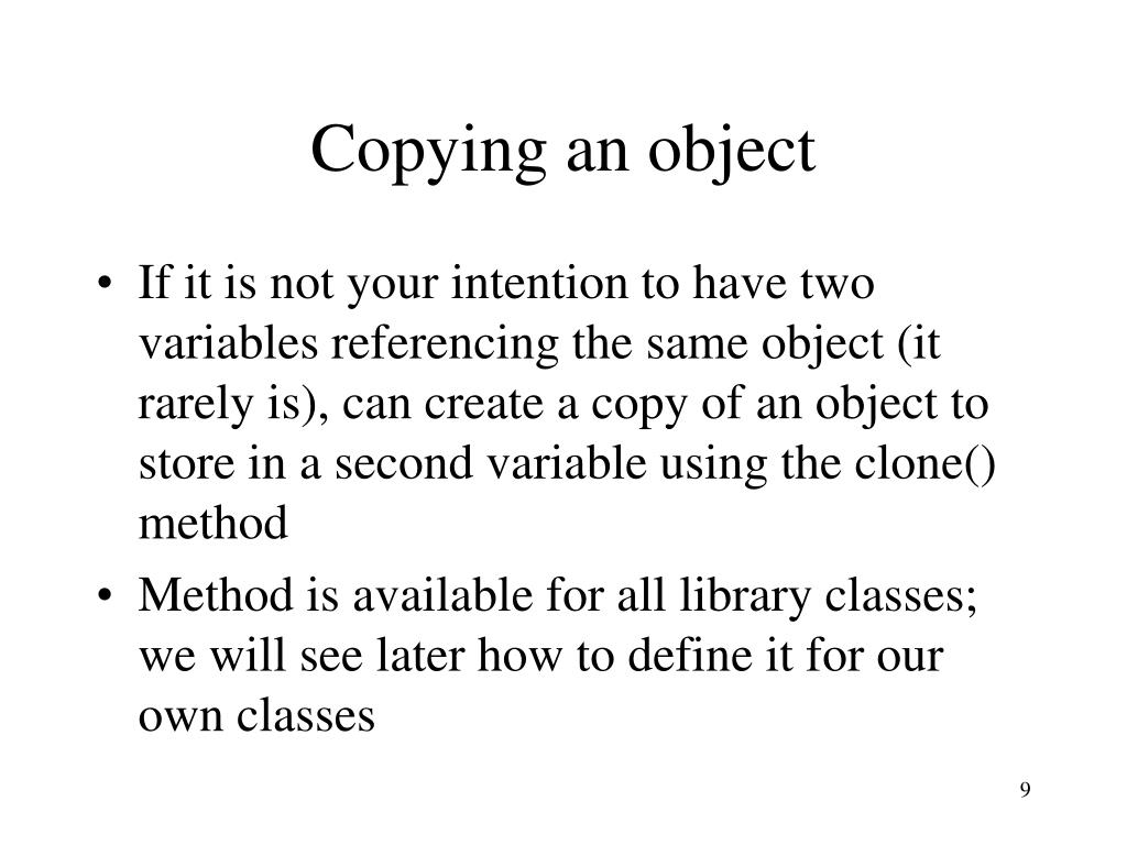 Copying an object