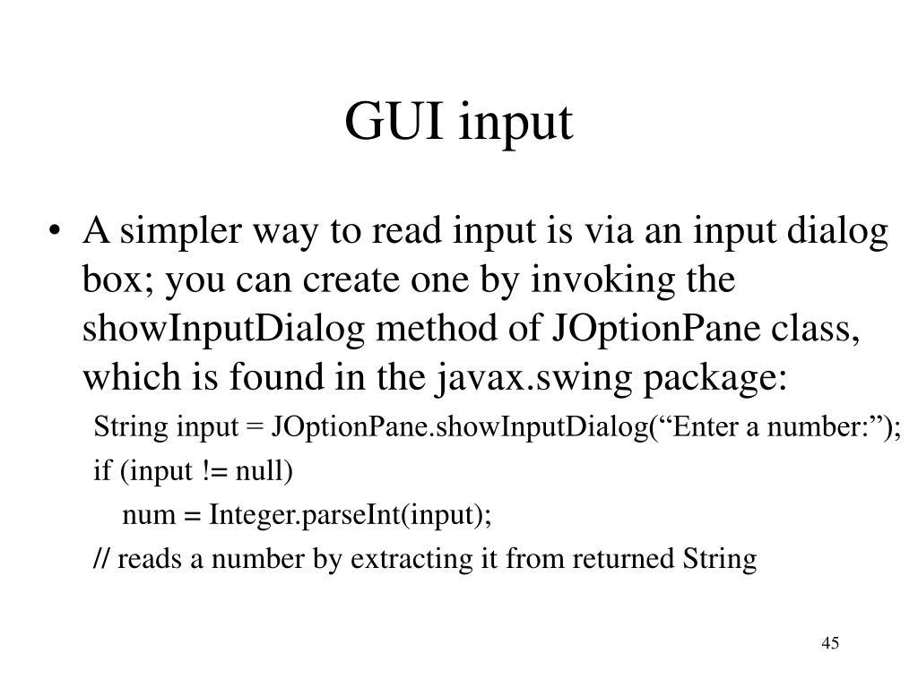 GUI input