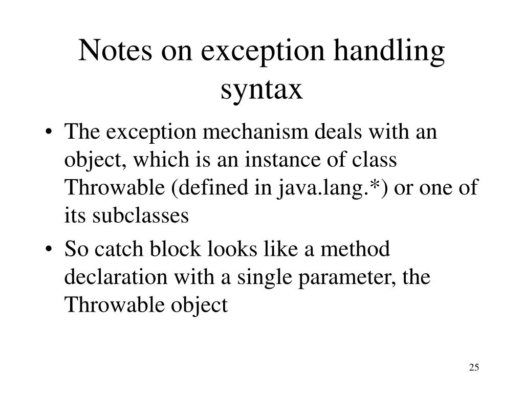 Notes on exception handling syntax
