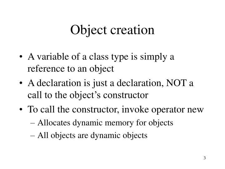 Object creation