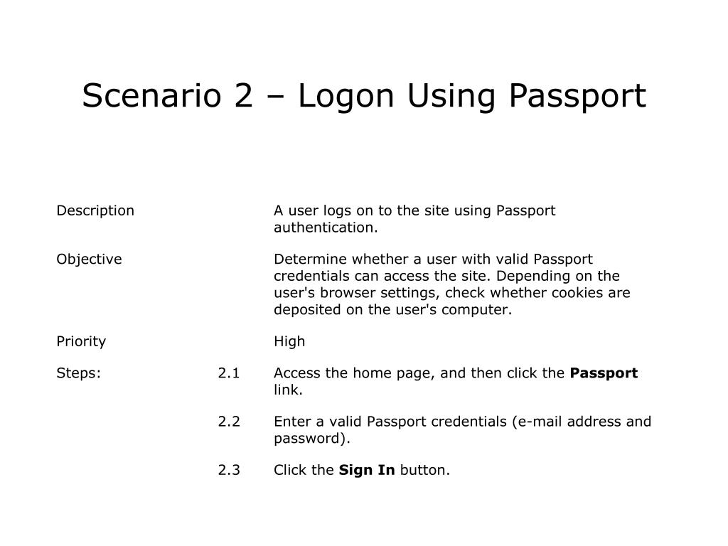 Scenario 2 – Logon Using Passport
