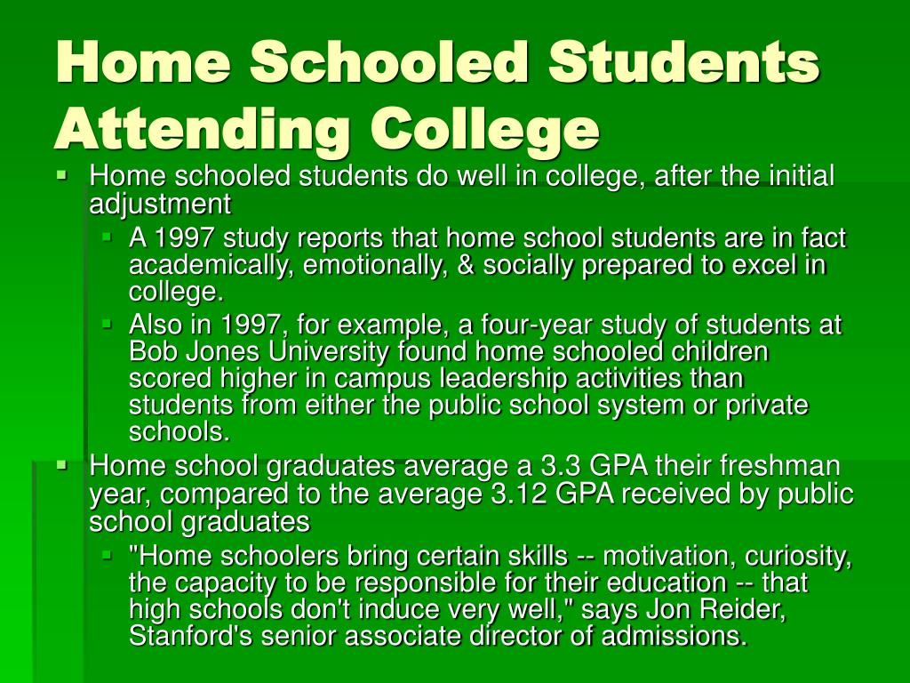 Home Schooled Students Attending College