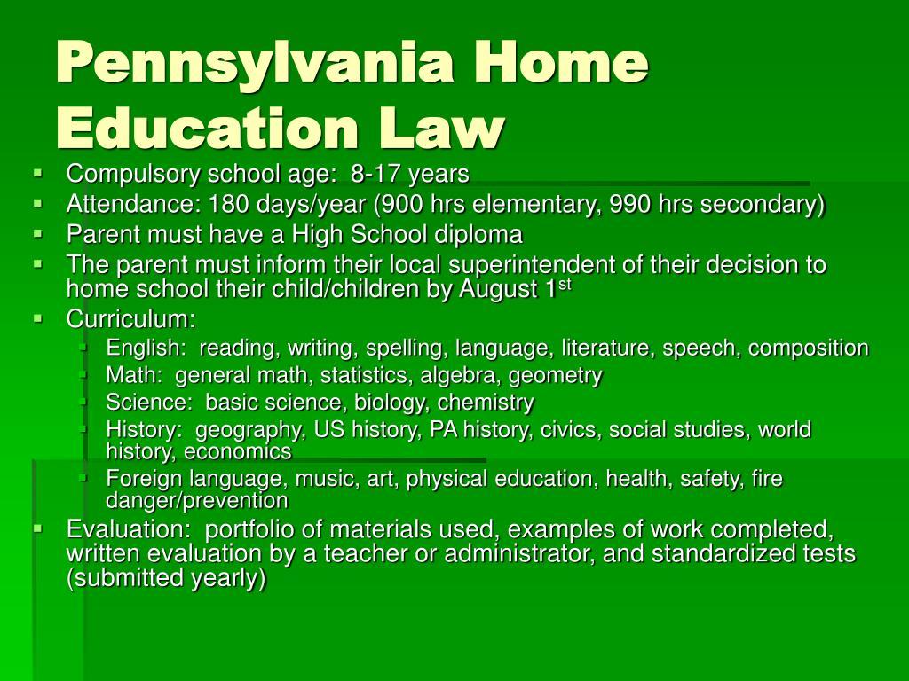 Pennsylvania Home Education Law
