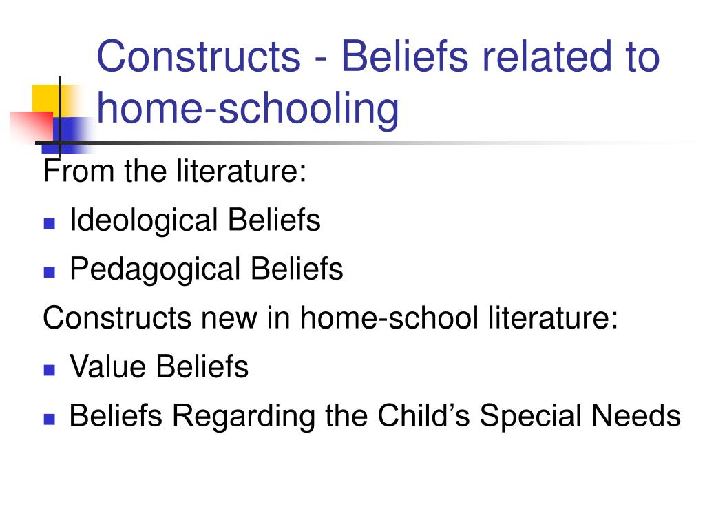 Constructs - Beliefs related to home-schooling