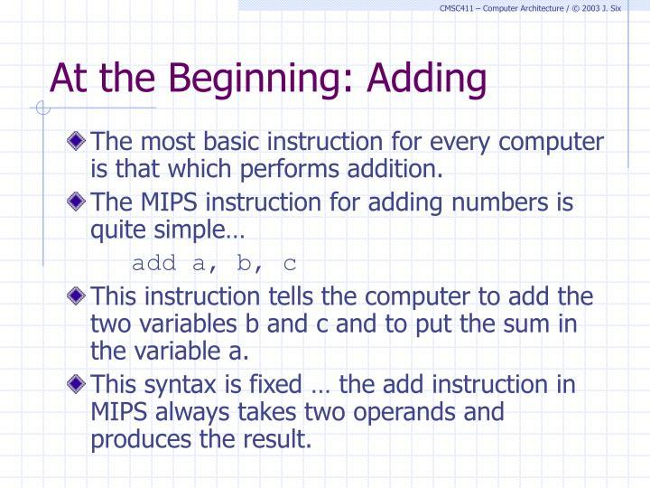 At the Beginning: Adding