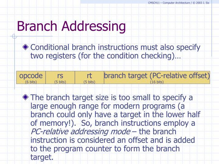 Branch Addressing