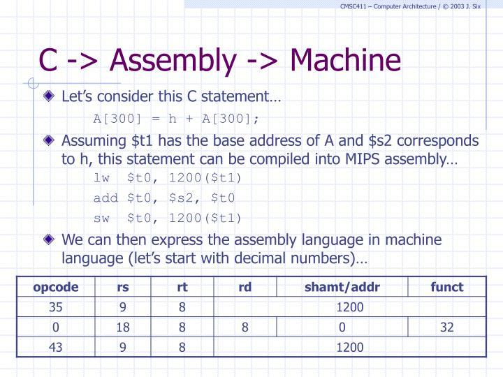 C -> Assembly -> Machine