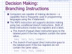 decision making branching instructions