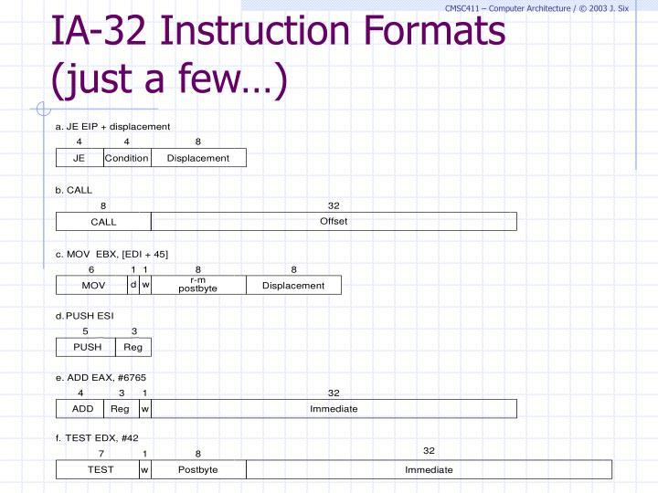 IA-32 Instruction Formats (just a few…)
