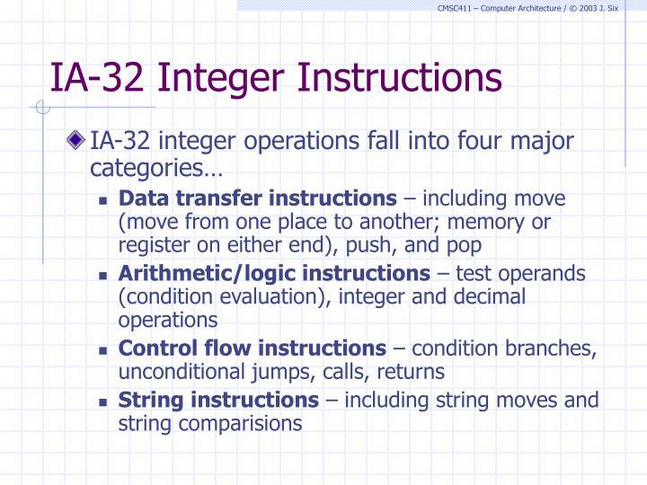 IA-32 Integer Instructions