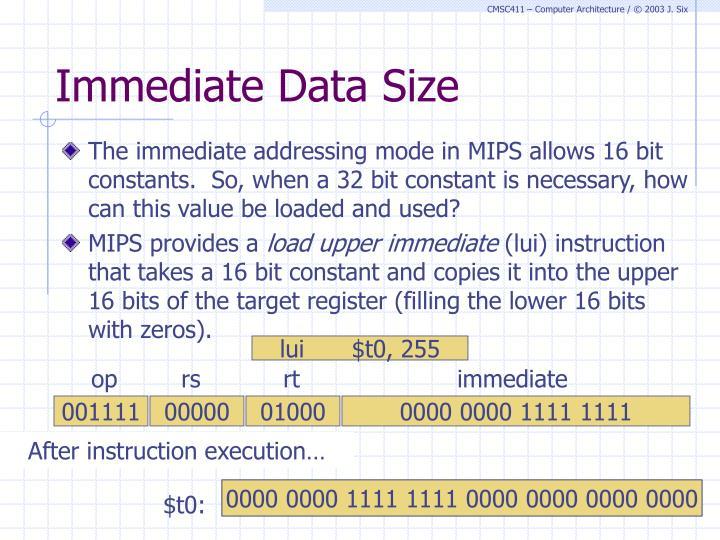 Immediate Data Size