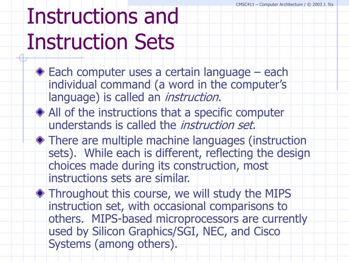 Instructions and instruction sets