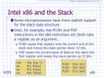 intel x86 and the stack