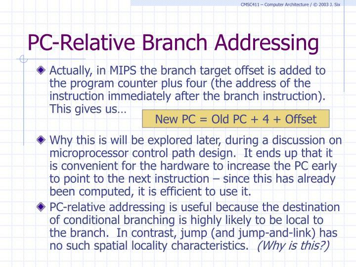 PC-Relative Branch Addressing