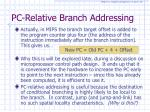 pc relative branch addressing